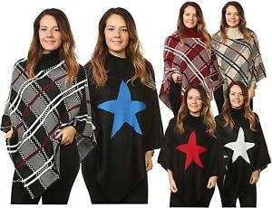 Plus-Ladies-Women-s-Knitted-Check-Star-Ponchos-Cardigan-Jumpers-Tops-UK-One-Size