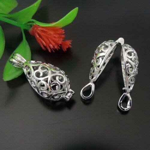 6X Hollow Brass Water-drop Shape Locket Pendant Charms Jewelry Wishing box
