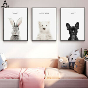 Details About Baby Animal Prints Canvas Nursery Decor Wall Art Rabbit Polar Bear Kids Posters