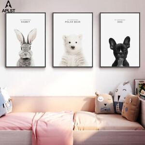 Baby Animal Prints Canvas Nursery Decor