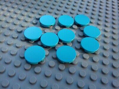 Lego 4 Medium Azure 2x2 circular round plate base NEW