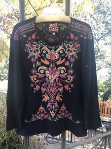 JOHNNY-WAS-JWLA-EMBROIDERED-IOANA-THERMAL-TOP-SIZE-MEDIUM-NEW-WITH-TAGS