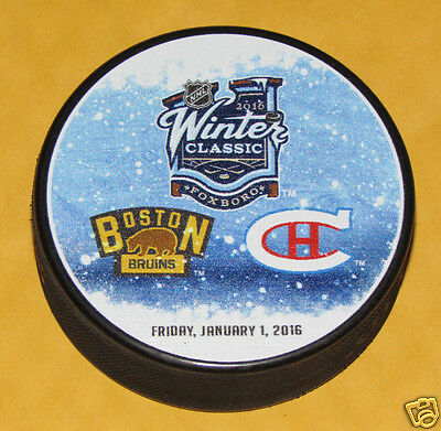 2016 WINTER CLASSIC PUCK Boston Bruins Montreal Canadiens DUELING VINTAGE LOGOS