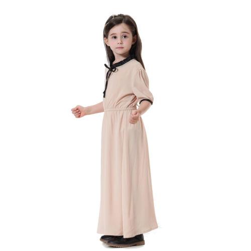 Summer Muslim Kids Kaftan Abaya Islamic Girls Short Sleeve Maxi Long Dress Tunic
