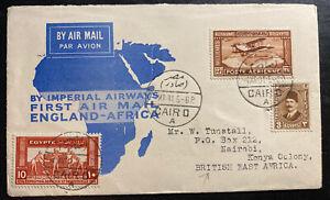 1931-Cairo-Egypt-First-Flight-Airmail-Cover-FFC-To-Nairobi-Kenya-British-KUT