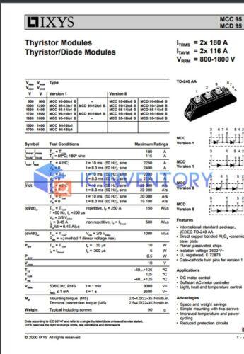 1PCS MCC95-16IO1B Encapsulation:MODULE,Thyristor Modules Thyristor//Diode