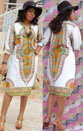 Traditionelle Afrikanische Boho Hippie Floral Kleid Damen Frauen Tribal Kleider
