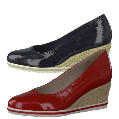 Tamaris 22441 Patent Espadrille Wedge Shoes With Touch It Insoles Red Or Navy | eBay