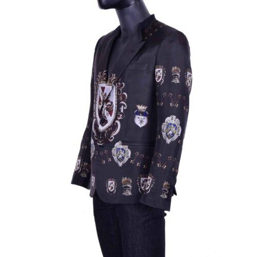 DOLCE /& GABBANA RUNWAY Keys Armour Print Silk Blazer Tuxedo Jacket Black 04044