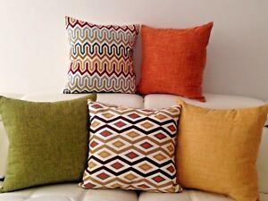 Orange-Yellow-Green-Geometric-Art-Linen-Cotton-Cushion-Pillow-Throw-Cover-18-034
