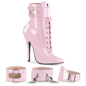 Devious DOMINA-1023 Women's Baby Pink Patent Heel Side Zip Lace Up Ankle Boots