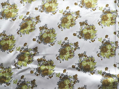 Vintage 1960's Bajsai Satin Cotton Dress Making Fabric Light Fawn Floral Design