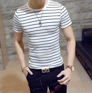 Men-Stylish-Tee-Slim-Fit-Striped-T-shirts-Casual-Shirt-Fashion-Short-Sleeve-Tops