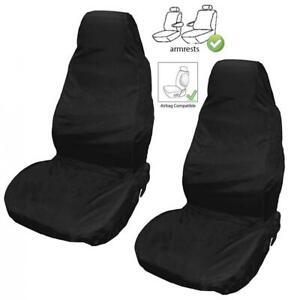 Universal-Front-Car-Van-Seat-Covers-Protectors-Black-Waterproof-Heavy-Duty-New