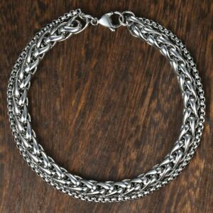 Men-039-s-Punk-Stainless-Steel-Silver-Chain-Link-Bracelet-Wristband-Cuff-Bangle-Gift