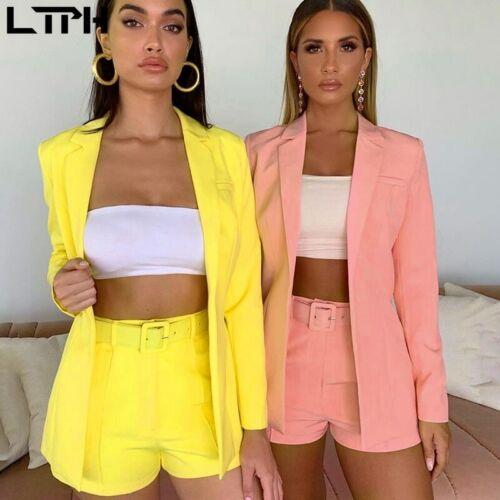 Traje De Chaqueta Cárdigan Y Pantalones Cortos Moda De Mujer Elegante Color Liso