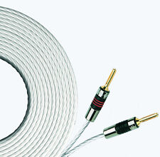 2 x 10m QED Silver MICRO Speaker Cable AIRLOC Forte Banana Plugs Terminated