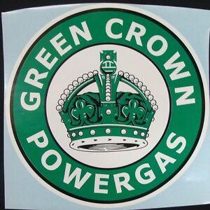 Green-Crown-Powergas-Graphic-Decal-Gas-amp-Oil-CROWN-GASOLINE-GAS-PUMP-STICKER
