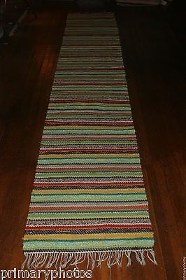 Beautiful Antique And Handmade Swedish Rag Rug 25 5x155 Inches Long Ebay
