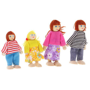 Dolls-House-Family-of-4-Flexible-Wooden-Doll-Dollhouse-Miniature-Figures