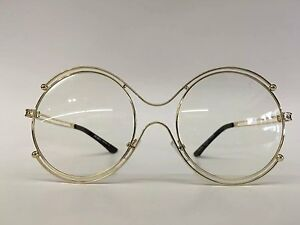 e9b137d0a0aa Image is loading Round-Vintage-Oversized-Clear-Lens-Glasses-Double-Gold-