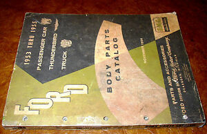 Details About 53 55 1954 1953 1955 Ford Car Truck Thunderbird Body Parts Catalog Original Book
