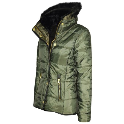 Kids Girls Olive Padded Puffer Jacket Bubble Faux Fur Collar Quilted Coats 3-13Y