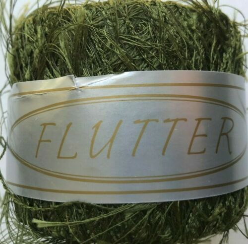 KFI Flutter Eyelash Yarn #41 Olive 100/% Polyester Skein Novelty Knitting Fever