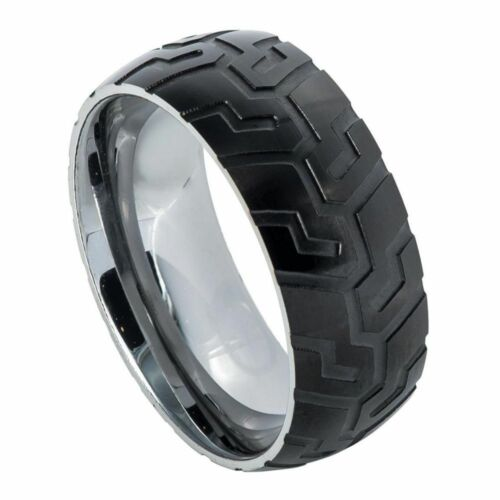 Semi-domed Tungsten Ring with Black IP Plated with Super Sleek Tire Tread 9mm