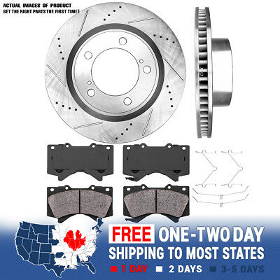 Front Brake Rotors Discs with Ceramic Pads For 2007 2008-2015 Sequoia Tundra