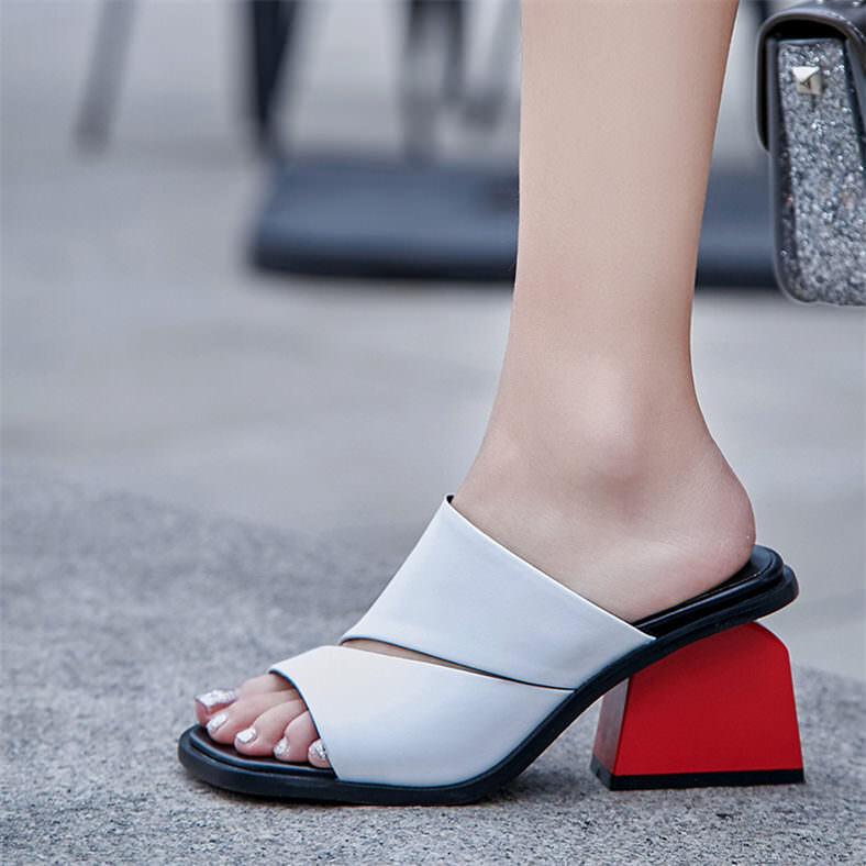 Sandalias De Mujer Cuero Real Puntera Puntera Puntera Abierta Zapatillas Mulas Zapatos tacón mediano cubano Plus talla  presentando toda la última moda de la calle
