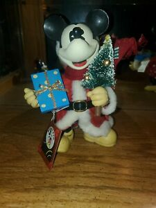 """Vintage Disney Fabric Mache 8"""" Mickey Mouse Santa Figure by Midwest W/Tag"""