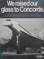 9/1969 PUB TRIPLEX SAFETY GLASS AVIATION CONCORDE GOLD FILM ORIGINAL ADVERT