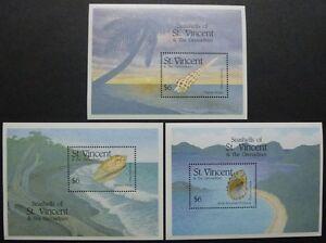 St-Vincent-1993-Muscheln-Shells-Meeresschnecken-Block-274-276-Postfrisch-MNH