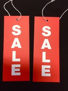 1000 Sale Red with White Text Swing Tags Strung with Cotton 40mm x 100 mm