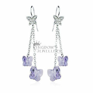 b13314a6dbf74 Details about 925 Sterling Silver Dangle Butterfly Earrings made with  Swarovski Crystals