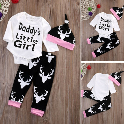 NEW Newborn Kids Baby Boy Girl Clothes Cotton Romper Tops+Pants+Hat Outfits Set