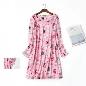 100%Cotton Women's Long Sleeve Dress Sleep Tee Sleepwear Nightwear Sleepshirt