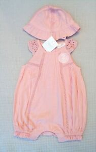BNWTS-NEXT-Baby-Girls-Pink-Cotton-Romper-All-In-One-amp-Sun-Hat-Newborn-10lbs