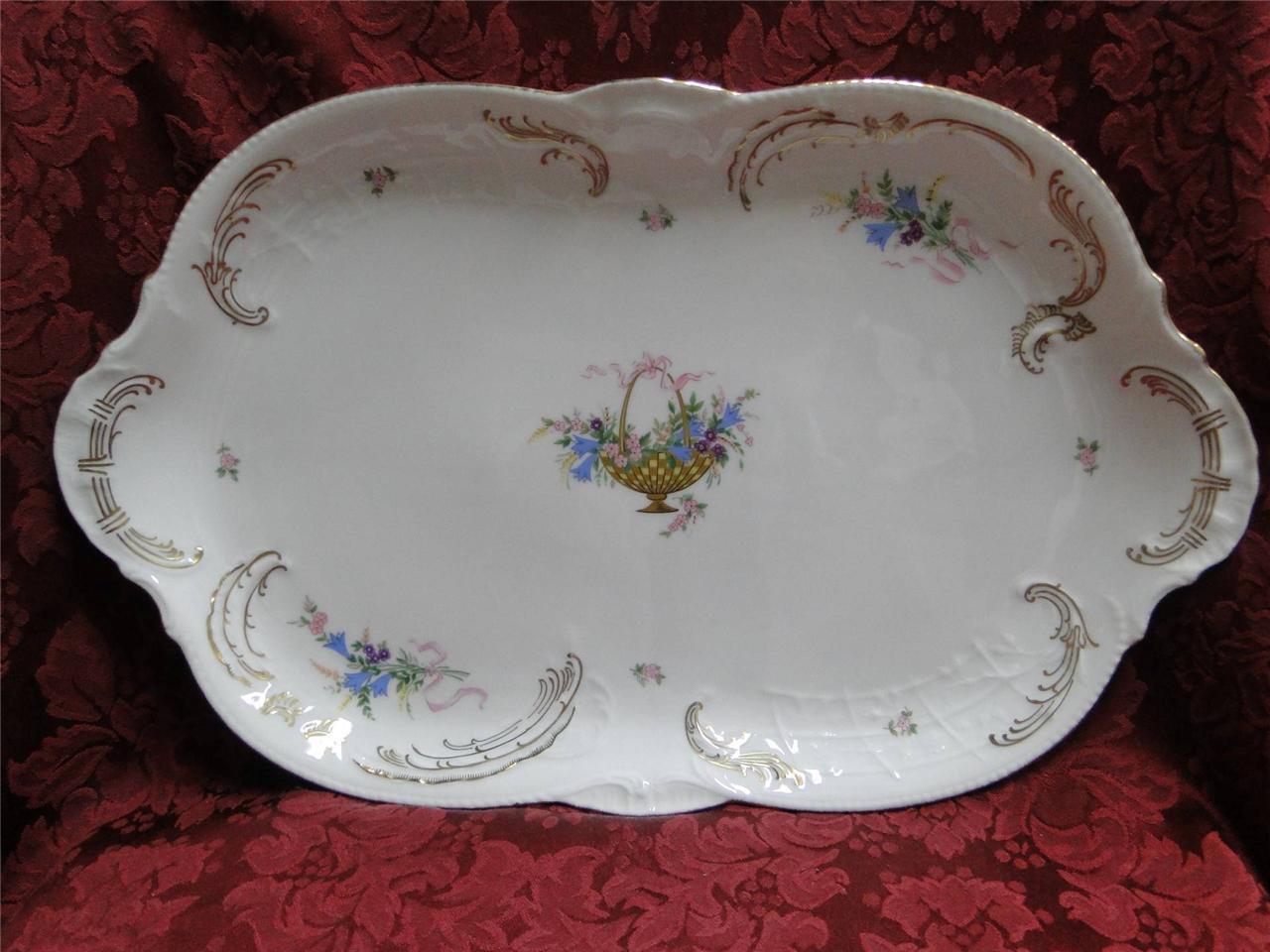 pinknthal Rokoko, Flower Basket, Ribbons  Platter, 15.5