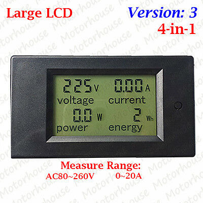 AC 110V 220V AC Digital LCD Panel Power Meter Monitor Voltmeter Volt Watt Combo