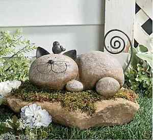 Faux stone rock pet cat kitty sculpture garden lawn art for Cat yard art
