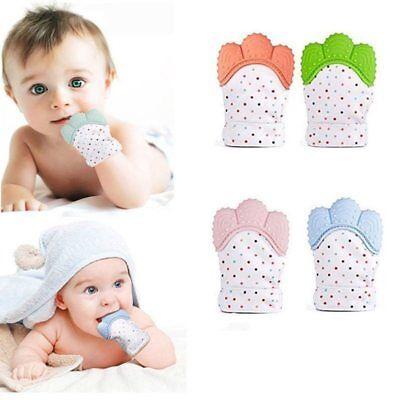 2X Baby Beißring Zahnungshilfe Zahnen Silikon Fäustlinge Handschuhe Neugeborenes