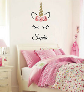 Details about Sleeping Unicorn with Name Wall Decal, Personalized Decals,  Girls Room, Nursery