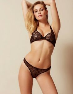 Agent Provocateur GINA BRA 34DD   THONG AP Size 3 4 in BLACK TULLE ... 6d6f18c8a