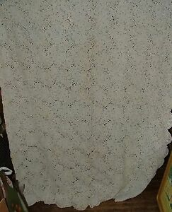 Antique-White-Double-Bedspread-Coverlet-Hand-Crochet-72-x-96-8-Pointed-Star-Rose