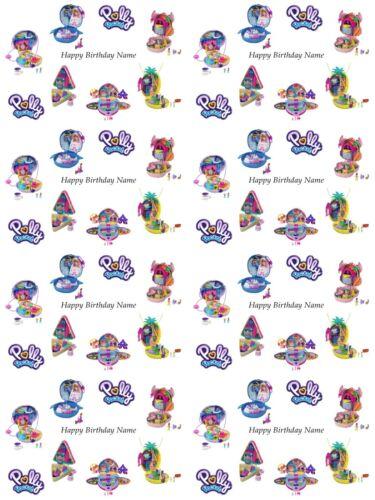 Polly Pocket Personnalisé Cadeau D/'anniversaire PAPIER CADEAU 3 Designs Ajouter Nom