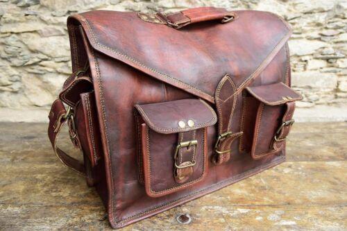 """Men/'s Genuine 15/"""" Vintage Brown Leather Messenger Shoulder Laptop Bag Briefcase"""