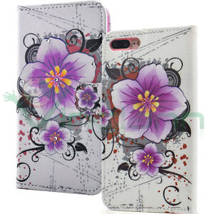 Custodia-FLIP-cover-Fiore-Viola-per-iPhone-7-Plus-5-5-034-case-stand-Brillantini