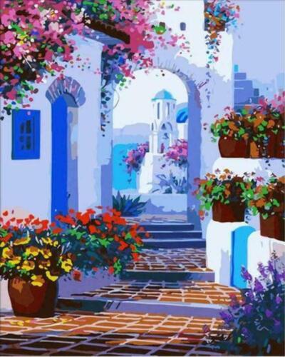 Beautiful Santorini Walk Scenery Greece Painting Paint By Numbers Kit DIY